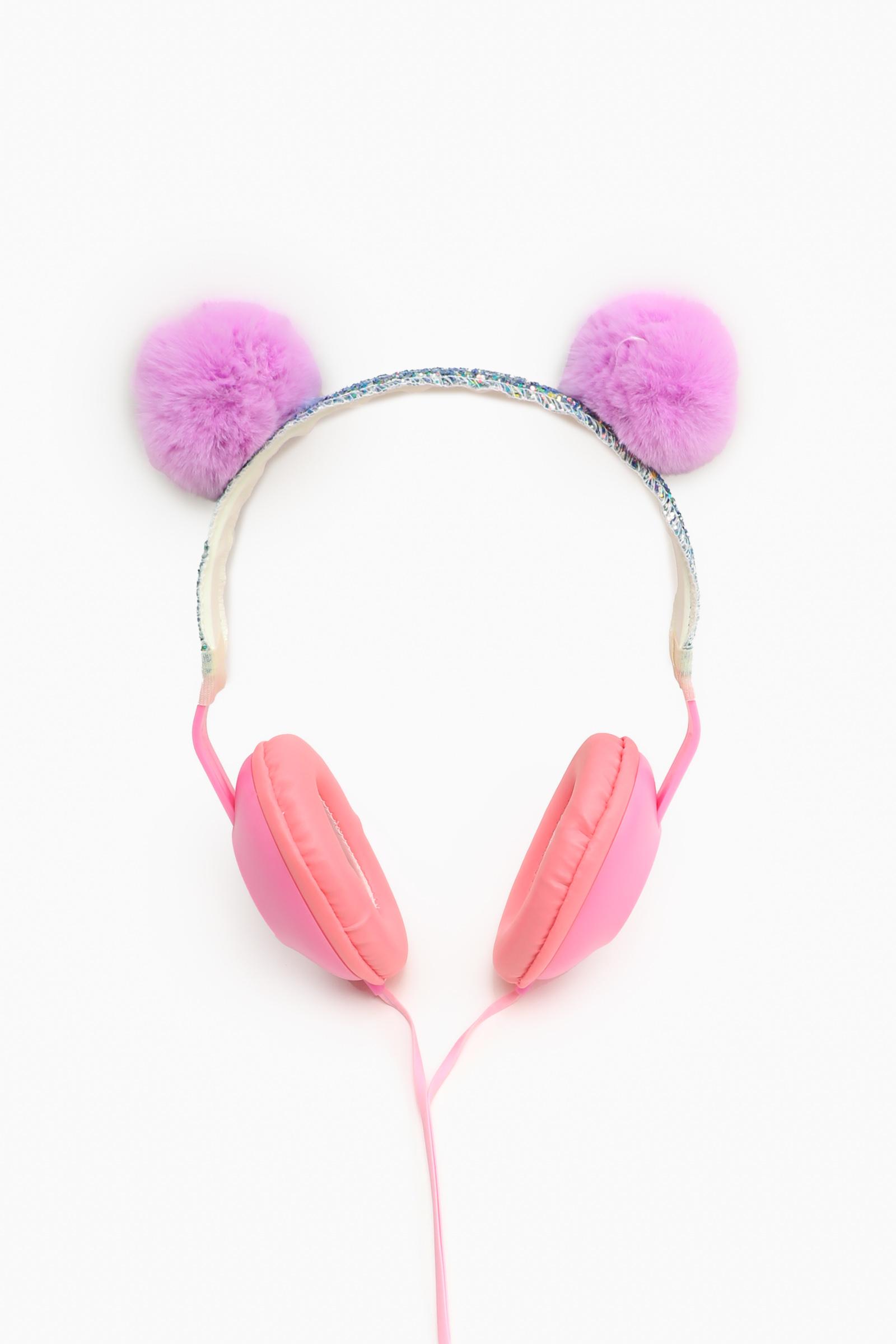 Casque d'écoute pliable avec pompons