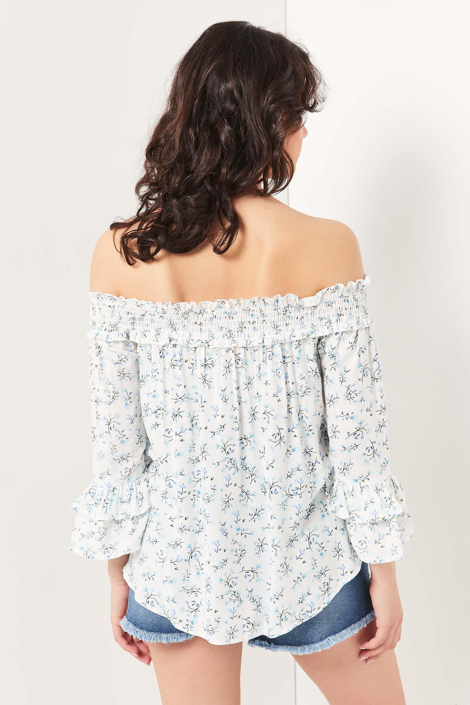 Off Shoulder Floral Blouse