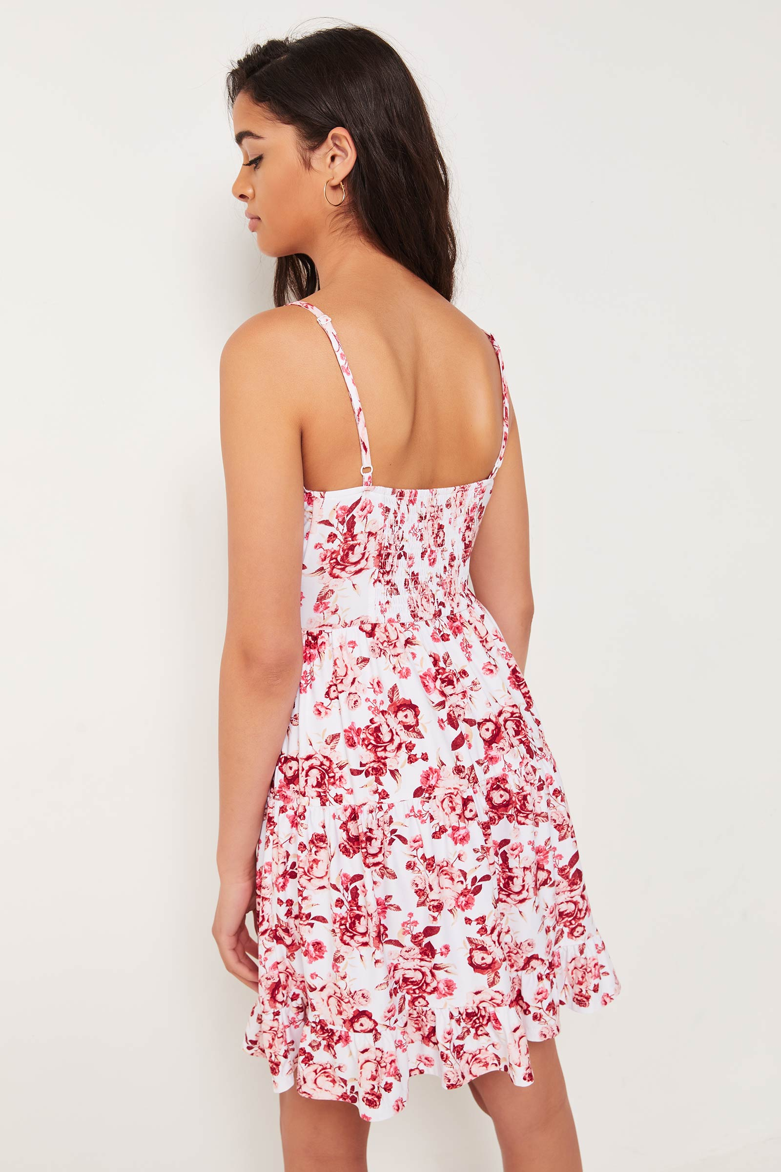 Floral Front Tie Tiered Mini Dress