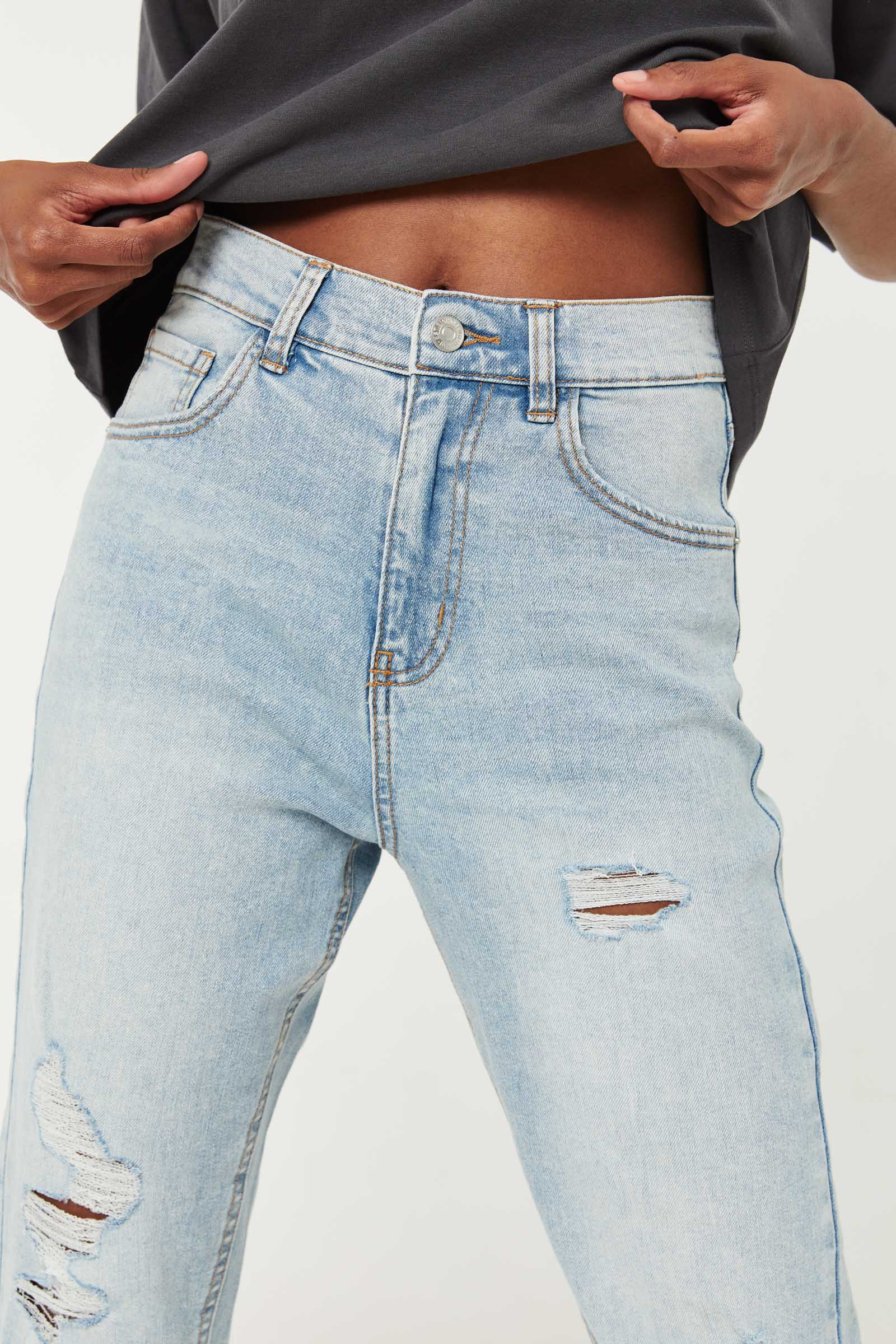 Ripped Easy Mom Jeans