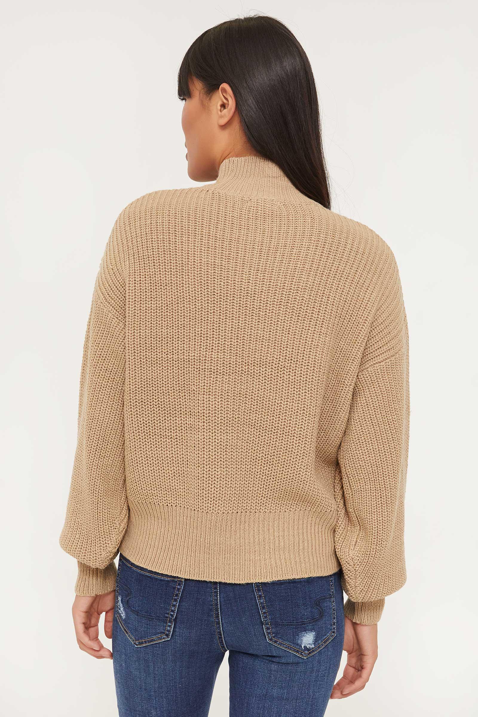Bubble Sleeve Mock Neck Sweater