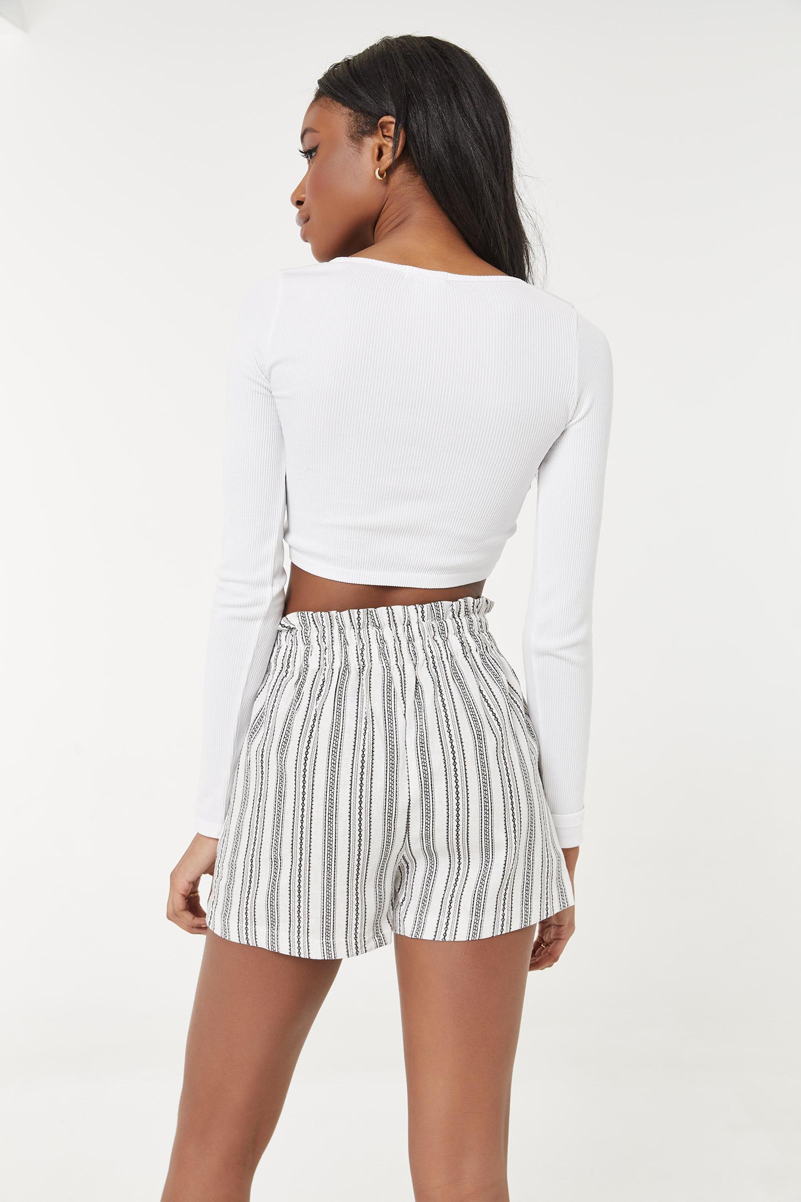 Striped Linen Paper Bag Shorts