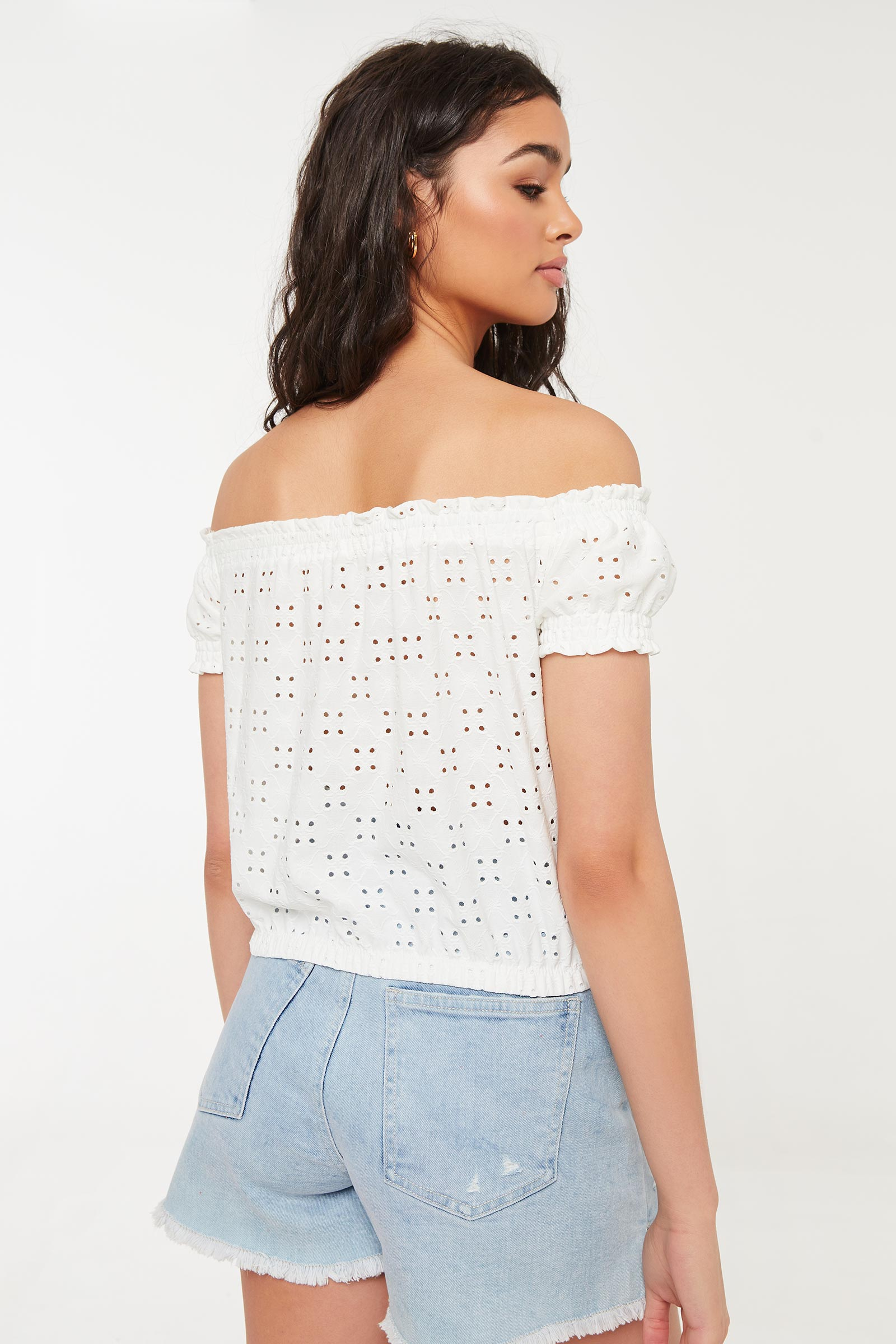 Perforated Off Shoulder Blouse