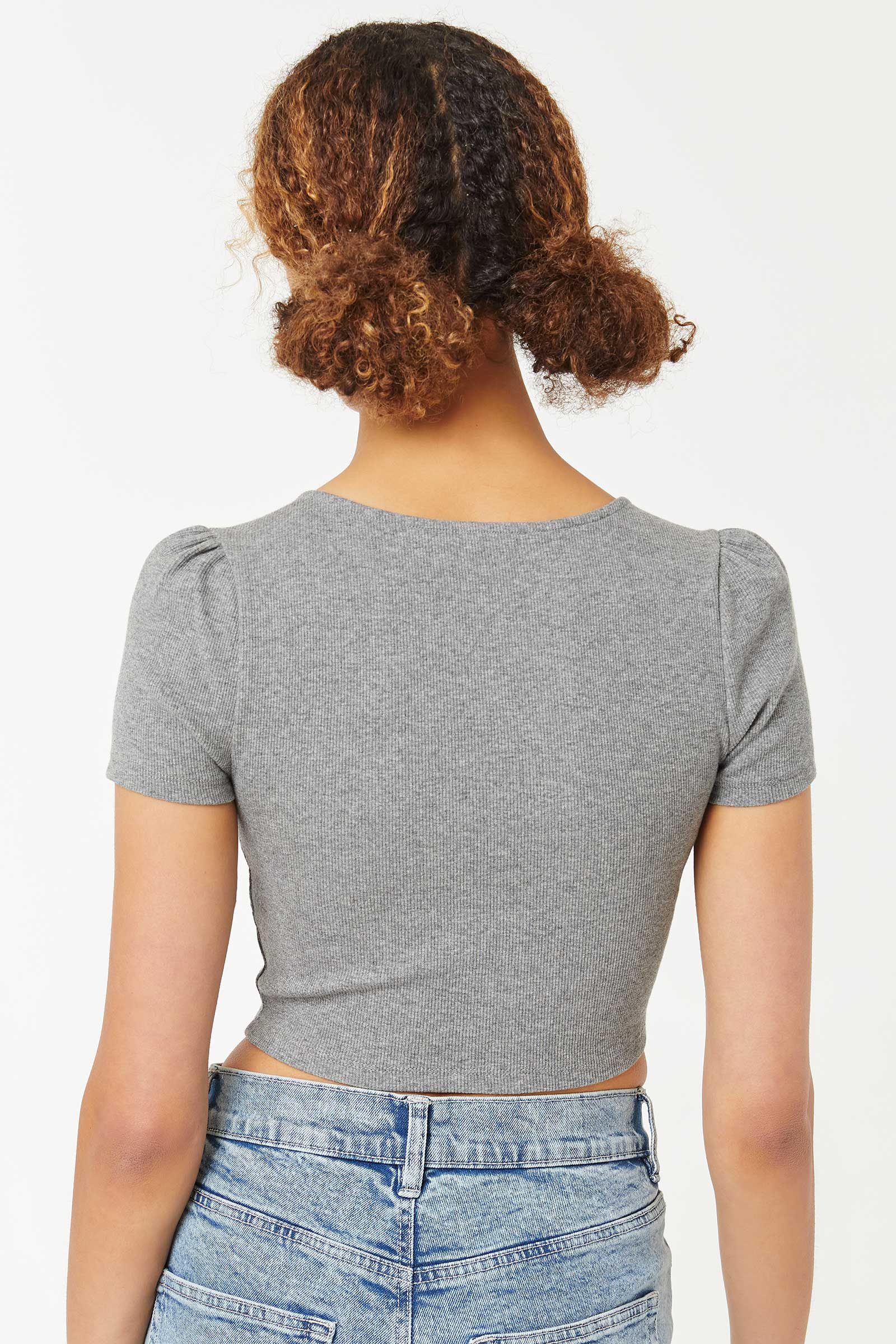 Ultra Cropped Bustier Top with Puffy Sleeves