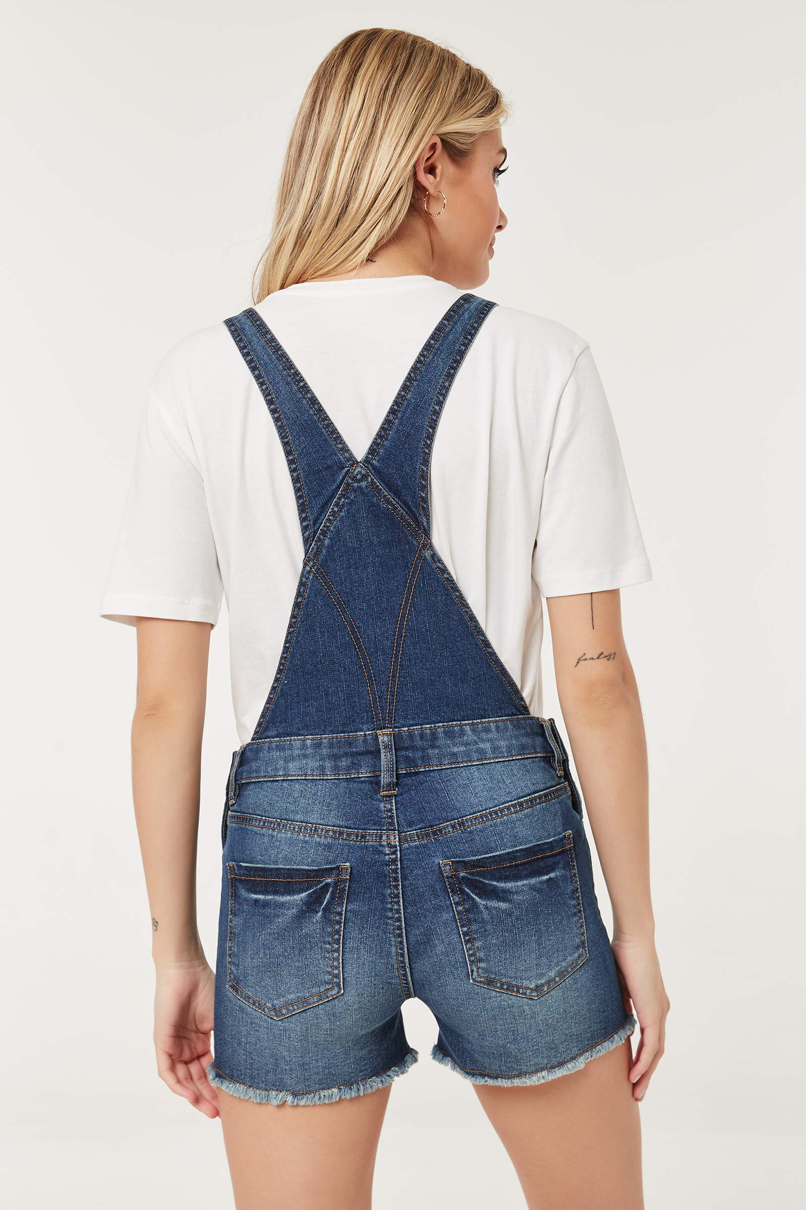 Frayed Jean Short Overalls