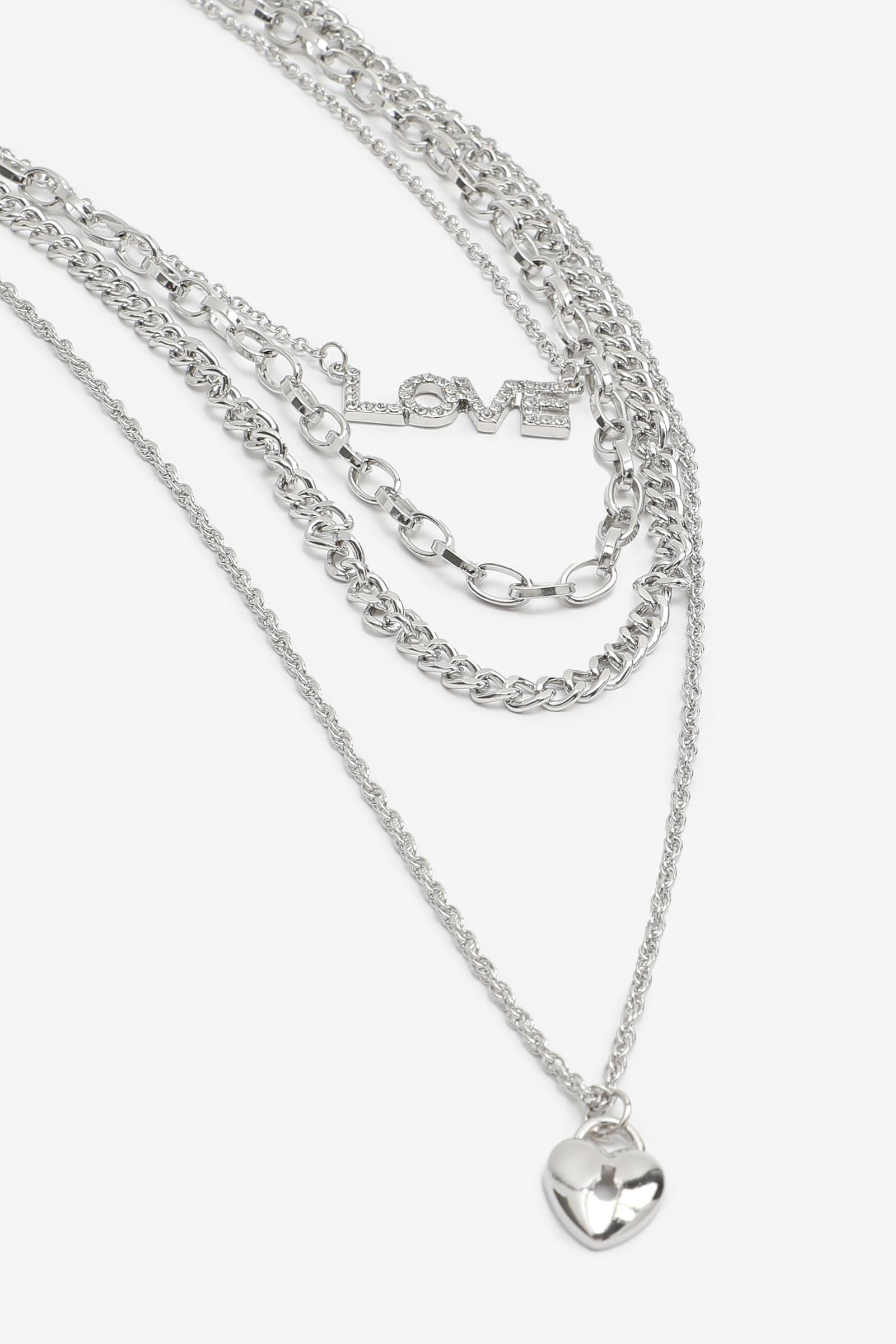 Collier de chaînes superposées LOVE