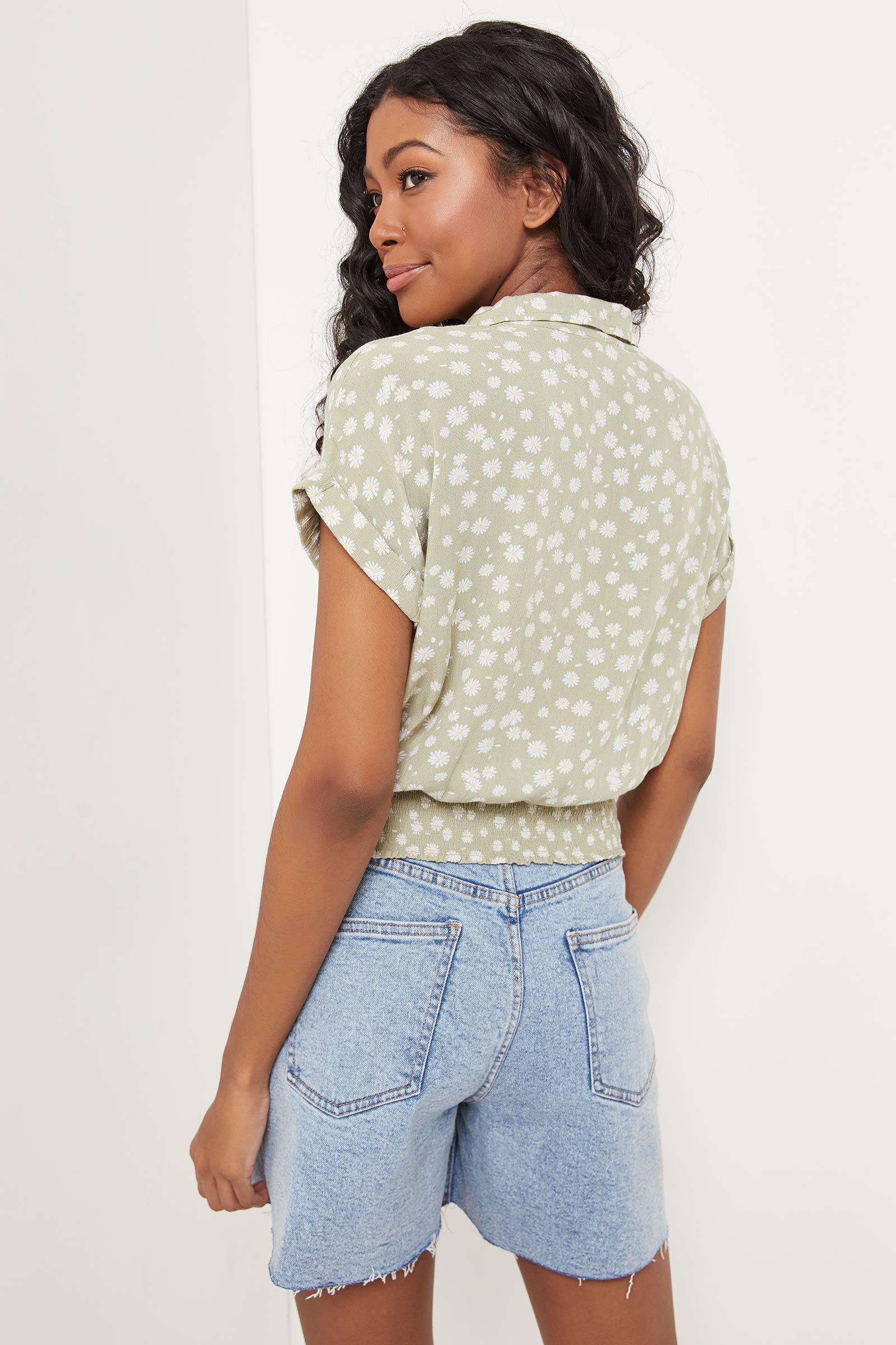 Floral Sage Shirt with Smocked Hem