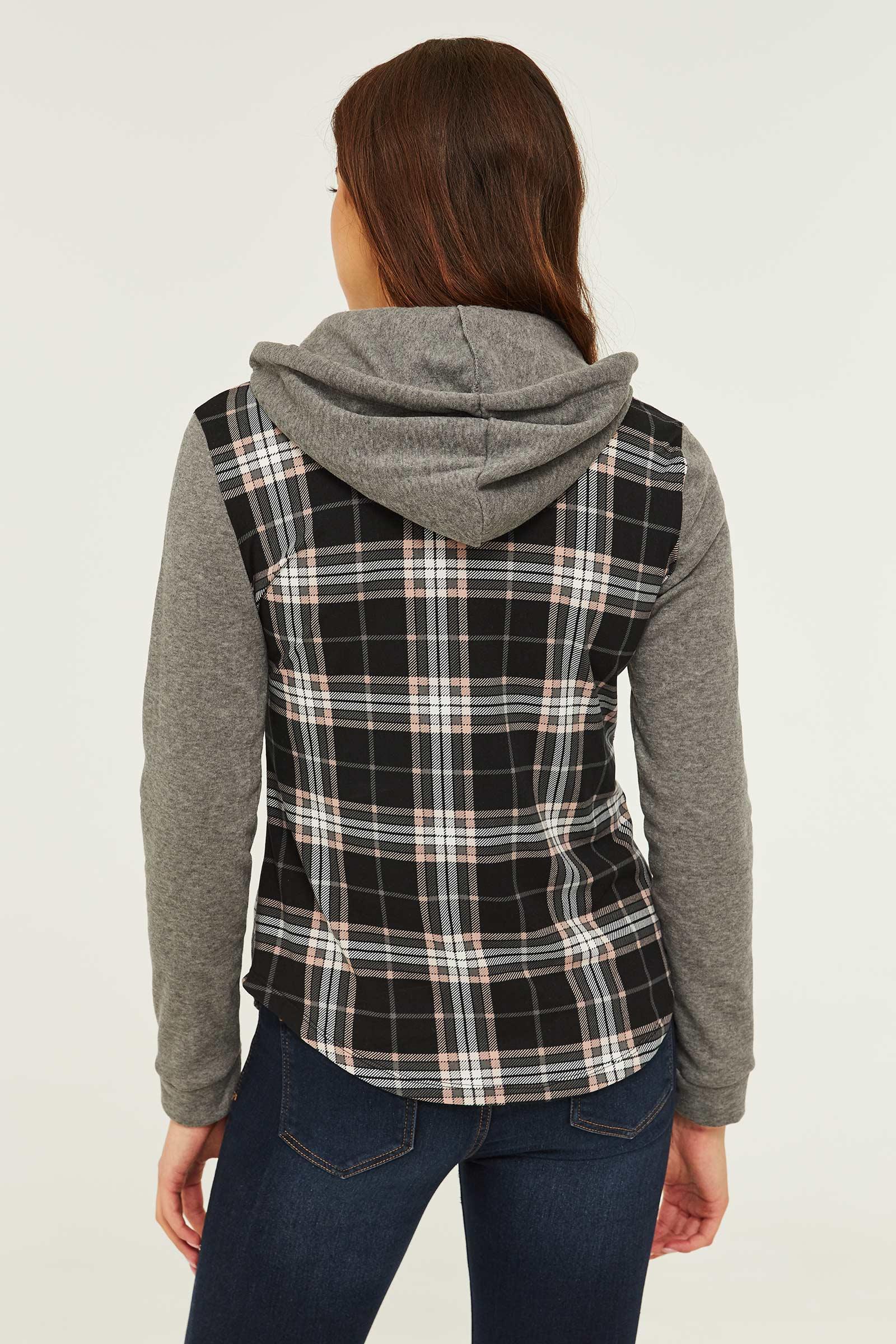 Chemise à capuchon très douce à carreaux
