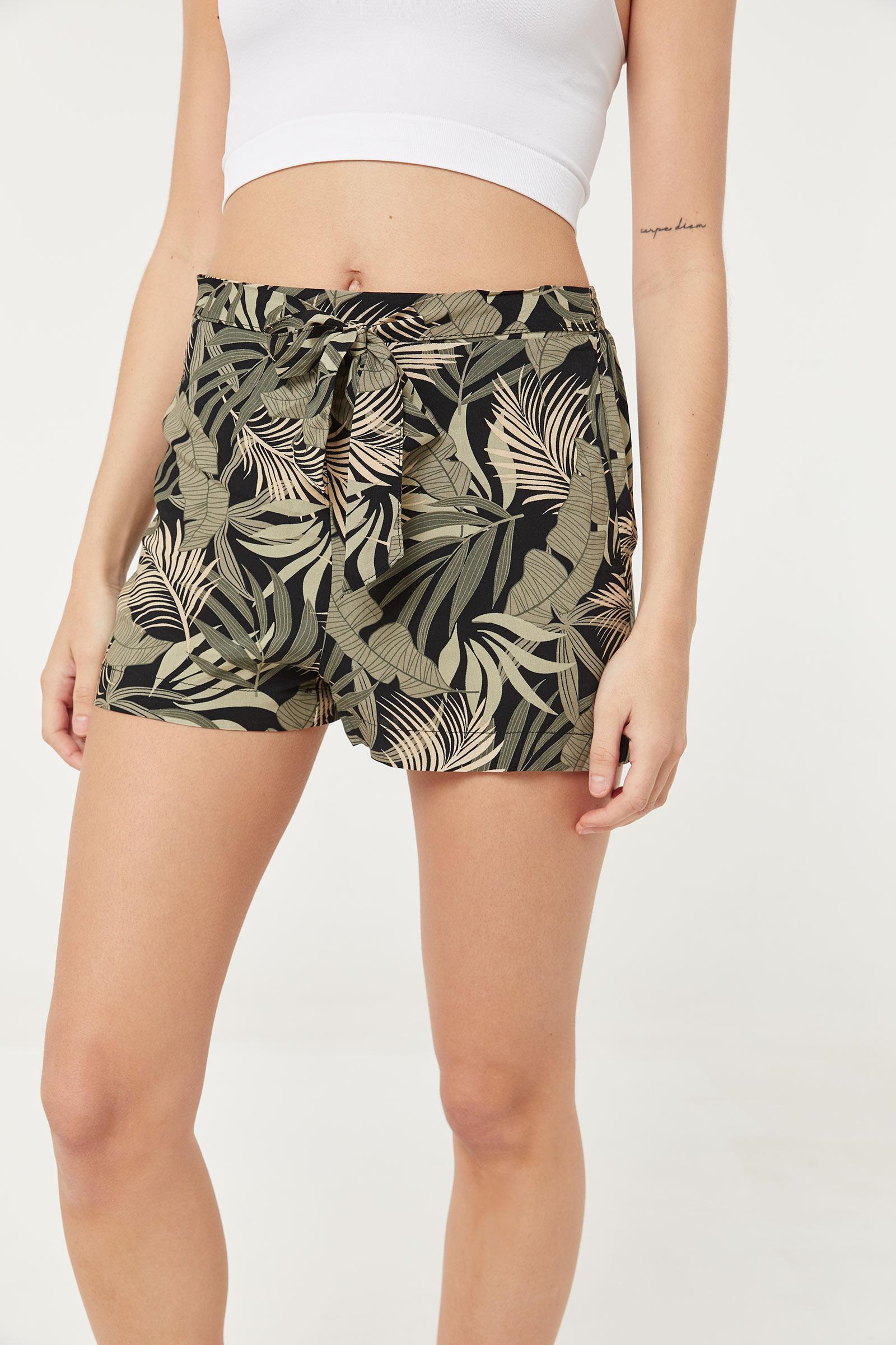 Basic Tropical Self-Tie Shorts