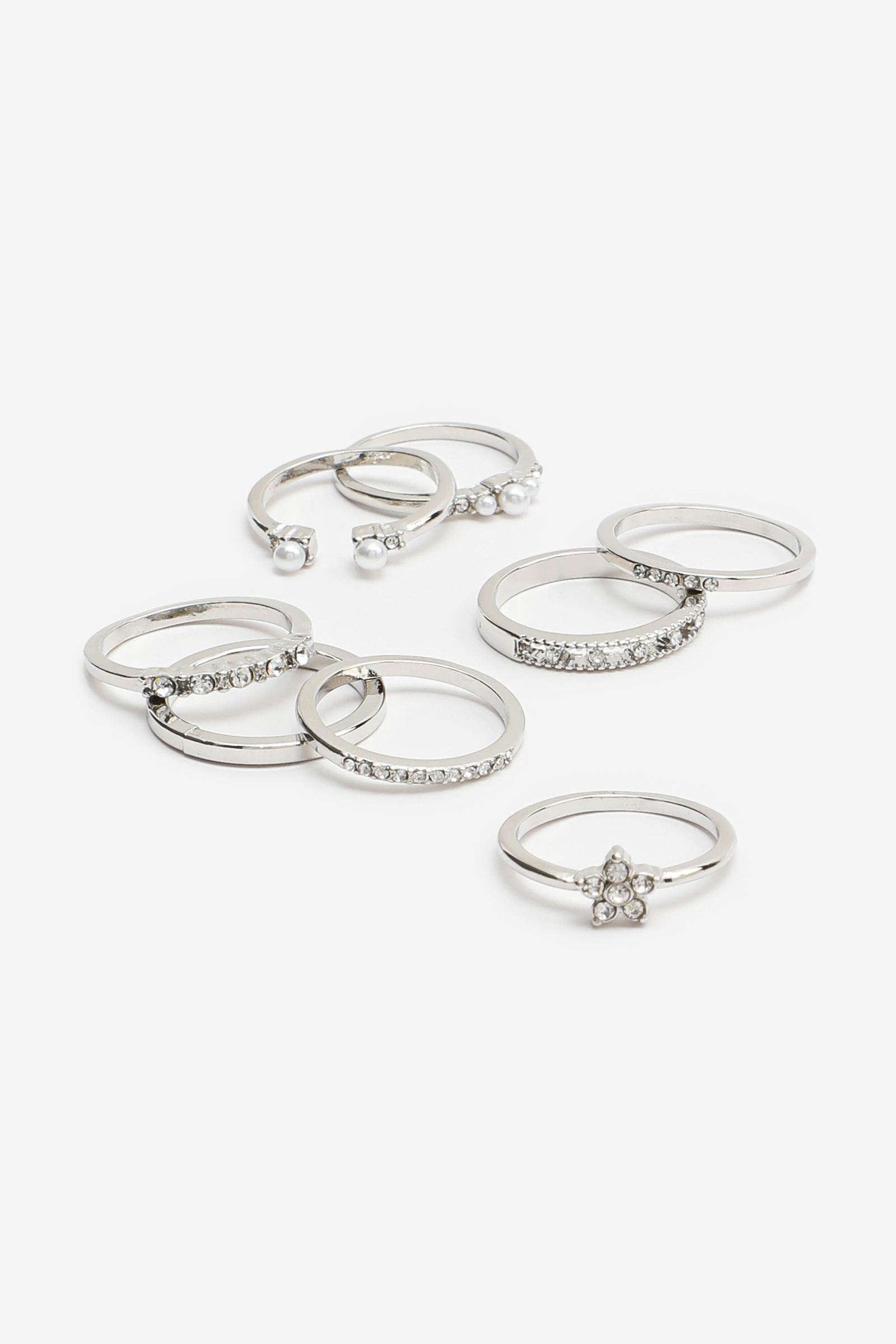 Pack of Pearl and Stone Rings