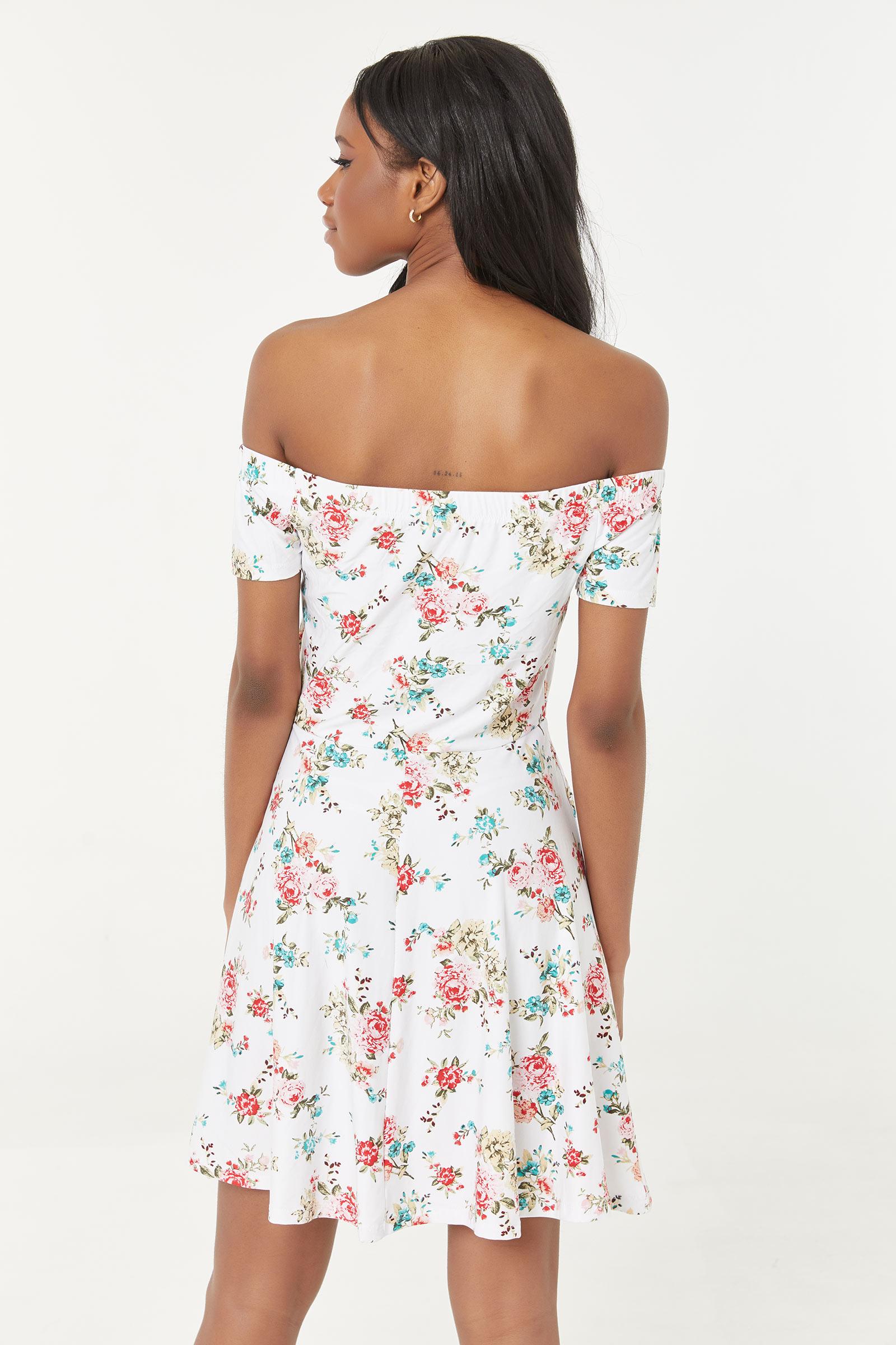 Off-Shoulder Floral Mini Dress