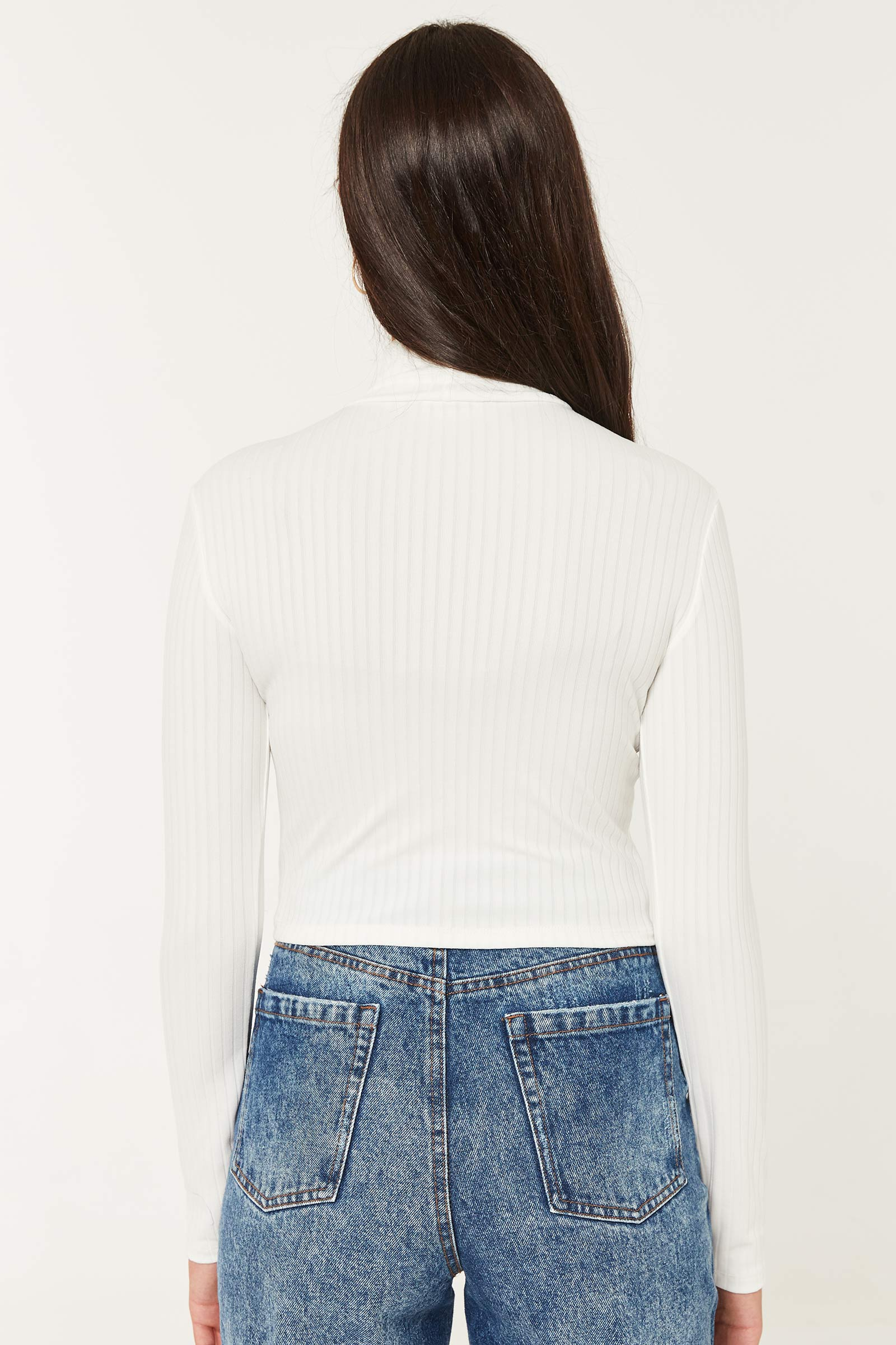Ultra-Cropped Mock Neck Sweater